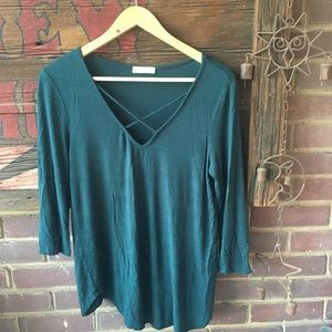Hunter green 3/4 shirt with criss-cross v-neck